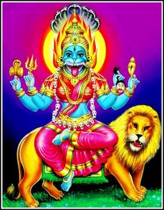 Prathyangira is a powerful personality - balance of good and evil. As Sarabhewarar she destroyed the  arrogance of the Shiva´s ugra avatar. It is believed that when Narashimhika  shakes her mane, she shambles the stars in the universe. Prathiyangara Devi is  considered to be a powerful repellent of the influences generated by witch-craft. In Sri Cakra worship, she protects her devotees against all odds  and guides them along the right path.