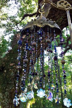 Midnight Hour Celestial Wind Chime...Mysteriously Haunting with an Antique Brass Filigree Turkish Crescent Moon Shade...So Magical!!!!!!