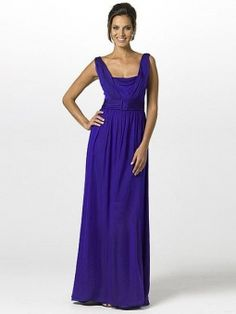 A-line Square Royal Blue Ruffles Chiffon Sleeveless Floor-length Dress