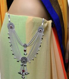 traditional silver half kandora of indian state gujarat Silver Jewellery Indian, Gold Jewellery Design, Silver Jewelry, Payal Designs Silver, Marriage Jewellery, Waist Jewelry, Stylish Jewelry, Necklace Designs, Kamar Bandh