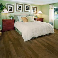 Get a traditional look with a strong and durable hardwood floor in your master suite. This warm brown color makes white bed linens and curtains really pop. You can get the same look in your home with the Mullican Muirfield Hickory Provincial. Wide Plank Flooring, Engineered Hardwood Flooring, Hardwood Floors, White Oak Floors, Floor Trim, Flooring Options, White Rug, Floor Rugs, Home Depot
