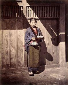 Young girl bringing tea, about 1880. Felice Beato or Raimund von Stillfried-Ratenicz