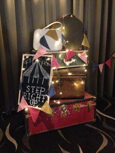 Vintage suitcase stack / decoration / vintage circus / carnival theme / formal