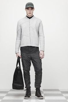 Alexander Wang - Men's suede jacket and leather tote bag for fall 2012.