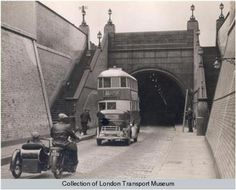 Blackwall tunnel My Dad had a motorbike & sidecar just like this one. Victorian London, Vintage London, Old London, London Pictures, London Photos, London Bus, London Life, London History, British History