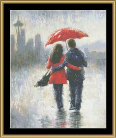 Seattle Lovers In The Rain [VW-08] - $16.00 : Mystic Stitch Inc, The fine art of counted cross stitch patterns