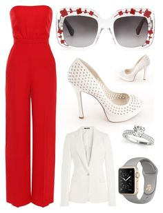 """""""Who's The Boss?"""" by pinkstars6 ❤ liked on Polyvore featuring Valentino, Gucci, BCBGeneration, Maison Margiela, red, BO, gucci, romper and girlpower"""