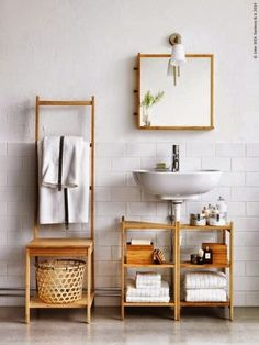 Small bathroom ideas - space-saving bathroom furniture and many clever solutions - Ikea DIY Ikea Bathroom Accessories, Small Bathroom Furniture, Small Bathroom Storage, Bathroom Shelves, Bathroom Organization, Organization Ideas, Bathroom Chair, Bathroom Vanities, Small Storage