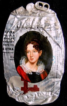 """Kim Alsbrooks, """"My White Trash Family"""", paintings on beer cans"""