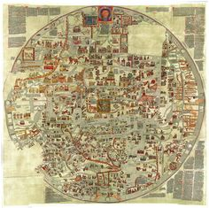 The Ebstorf Map, from the late 13th century Early World Maps, Old World Maps, Old Maps, Antique World Map, Antique Maps, Vintage Maps, Hereford, European Map, Medieval World