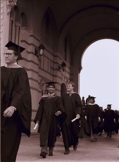 Rice University Commencement, view of male graduates through the Sallyport, 1987
