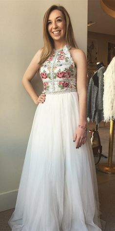 fashion halter white tulle prom dress with embroidery , elegant two piece evening dress with beading