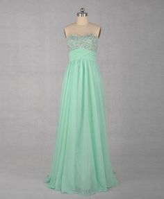 A-line Sweetheart Sleeveless Floor-length Chiffon Dress With Paillette Beading. in love.