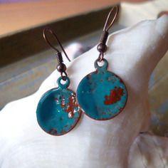 Boucles d'oreilles  - émaux sur cuivre - turquoise, cuivre