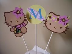 Tan Hawaiian Hello Kitty Centerpieces/ Caketoppers by PaSewDesigns, $12.00