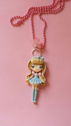Polymer clay necklace girl changes color polymer clay by Artmary2