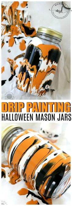Halloween Drip Painted Mason Jars , Fall and Halloween Mason Jar DIY - get the step by step tutorial here with milk paint Drip painted mason jars, Halloween DIY to create gorgeous drip painting in 2 distinct patterns, great DIY tutorial for fall crafting Mason Jar Projects, Mason Jar Crafts, Mason Jar Diy, Holidays Halloween, Halloween Crafts, Fall Crafts, Halloween Tutorial, Halloween Parties, Diy Crafts