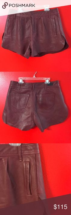 Diesel Leather shorts Burgundy Sheep leather. They have a few stains but not very noticeable while they're on. They have slits on the sides. Diesel Shorts