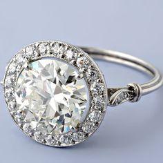 Antique Art Deco Style 2.94ct European-cut Diamond Engagement Ring. LOVE!
