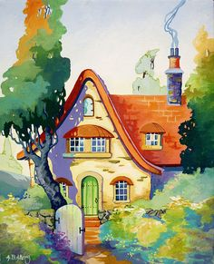 "'Red Roof Bungalow' American artist Alida Bayne Akers - The Storybook Cottage Series.""It's a purely nostalgic series full of cottages,friendly twisty bendy trees,gardens where weeds never take over,favorite cottage garden flowers & a gentle turning of the seasons.My little cottages are poster children for the less is more way of life.Often we forget the most important things in the cupboard are crayons & paper...not expensive trendy items.I believe my genetic memory is lonesome for the U.K."""
