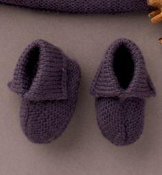 Modèle chaussons bébé fille unis - Modèles tricot layette - Phildar