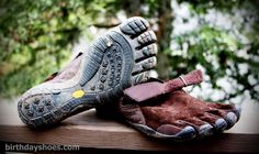 KSO Trek Vibram FiveFingers - Fall 2009 toe shoes released for trail running that featured a brand new (at the time) five-toed rubber outsole with a 4mm midsole to take the edge off of a misstep on rocks/roots/etc.  Feature a kangaroo upper (suede facing out).  Attached via a hook-and-loop velcro strap system.  Photo from a review of the men's.