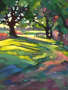 Just Landscape Animal Floral Garden Still Life Paintings by Louisiana Artist Karen Mathison Schmidt: Afternoon Walk contemporary fauve impressionist oil painting of a tree-lined country road in spring • alla prima sunny springtime landscape art by Louisiana artist KMSchmidt