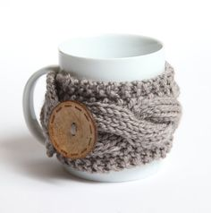 Coffee cup knitted mug cozy, on Etsy, $13.90