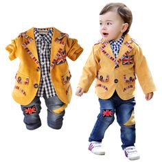 2014 boys spring and autumn suit +shirt + pants clothing set casual child blazer  three pieces set england style $59.99 Suit Shirts, Jean Shirts, Pants Outfit, Outfit Sets, Baby Boy Suit, England Fashion, Dressy Outfits, Check Shirt, Baby Boy Outfits