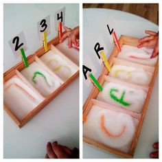 Sensory activities for numbers and letters Montessori Materials, Montessori Activities, Learning Activities, Preschool Activities, Kids Learning, Preschool Education, Preschool Classroom, Alphabet Activities, Early Childhood Education