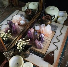 Love jewel tones, with candles & flowers. Would like to see this on an antique tray, though.