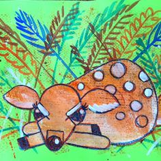 Cassie Stephens: In the Art Room: Charley Harper-Inspired Fawn Collage