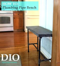 Easy way to build a plumbers pipe bench using gas pipes and a wood top! Industrial Farmhouse Decor at Dio Home Improvements.
