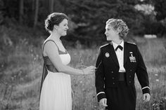 From a Washington military wedding - beautiful couple, including the bride in a mess dress with such lovely hair!