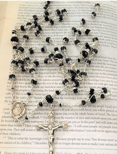 Prayer Journals, Black Fire, Rosary Catholic, Rosaries, Blessed Mother, Bead Caps, Crucifix, Silver Beads, Black Silver