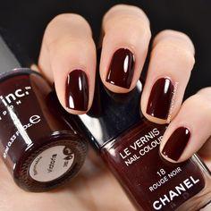 Comparison of nails inc. - victoria and Chanel - 18 Rouge Noir