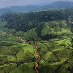Photo by @michaelchristopherbrown. Flying over the lush landscape of Walikale territory, located in the North Kivu province of the Democratic Republic of the Congo.
