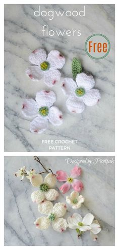 Crochet Puff Flower Dogwood Flowers Free Crochet Pattern - This Dogwood Flowers Free Crochet Pattern can be customized to make a variety of flowers for home decor, headbands, or even accents for other crocheted pieces. Crochet Puff Flower, Crochet Leaves, Easter Crochet, Crochet Flower Patterns, Thread Crochet, Knitting Patterns Free, Crochet Flowers, Crochet Butterfly Free Pattern, Yarn Thread