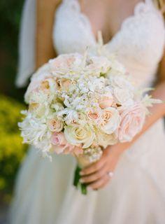 pink peach cream #elegant wedding bouquet
