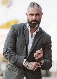 The top short hairstyles for men for the year 2018 are eye-catching and somewhat sophisticated. Forget about the one-length and monotone haircuts that guys liked to rock a couple of years ago. Today the short mens hairstyles have become particularly. Daniel Sheehan, Silver Foxes Men, Mens Fashion Blazer, Leather Suspenders, Beard Lover, Mature Men, Hair And Beard Styles, Moustache, Bearded Men