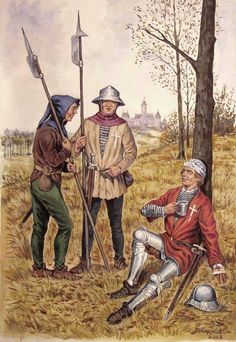 "O. Brandukov. Swiss mercenaries from the series ""Scenes from the life of Medieval Germany."""