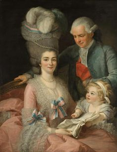 An unusual close, happy family portrait (for the 18th century) of the Marquis Bergeret de Prouville with his wife Mme Desroches Bournay (whose head looks to topple over) and their daughter, holding a score of music, by Louise Elisabeth Vigée Lebrun or Alexander Roslin (Portrait located in Helsingborg, Sweden)