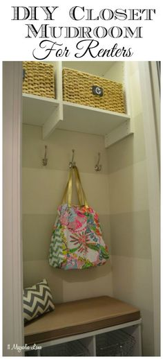 If you want to turn a closet into a mudroom/ drop zone space but you're a renter, check out this project.  All easily reversible but so pretty and functional!