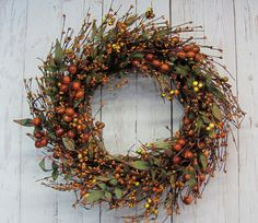 Fall is full of beautiful colors and so is this wreath! This Fall pip berry wreath is a combination of mustard mini pip berries and large berry