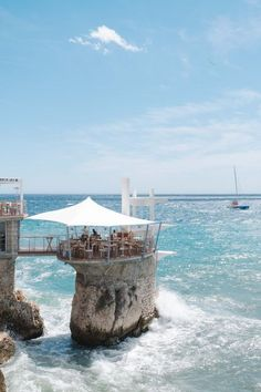 Photos: A Beach Weekend in Nice, France, TRAVEL, Dining above the waves at Le Plongeoir restaurant: It& an ideal setting, hovering just above the sea on a pillar of rock. Nice, Ville France, South Of France, Best Vacation Destinations, Best Vacations, Places To Travel, Places To Go, Nice Ville, Luxury Sports Cars