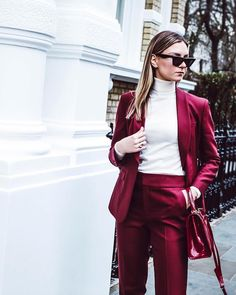 """524 Likes, 10 Comments - SUISTUDIO (@suistudio) on Instagram: """"@the.simone nails the #streetstyle #falltrend in London wearing the Bobbi Red Suit. #SUISTUDIO"""""""