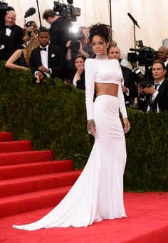 Bad girl RiRi, aka Rihanna, goes for an angelic look at the Costume Institute of the Metropolitan Museum of Art's Charles James: Beyond Fashion exhibit on May 5 in New York