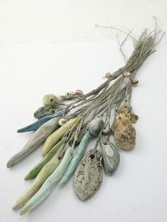 Artisan Ceramic shell and stone Beads twine by greybirdstudio, £32.00