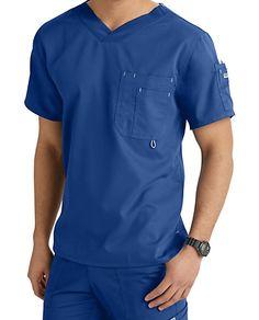 Grey's Anatomy Men's 3 Pocket High V-neck Scrub Tops Vet Scrubs, Doctor Scrubs, Medical Scrubs, Scrubs Outfit, Scrubs Uniform, Men In Uniform, Greys Anatomy Men, Grey's Anatomy, Corporate Wear