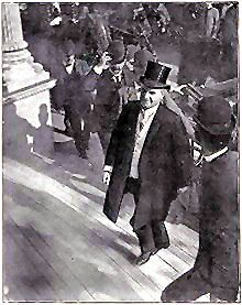 President William McKinley arrives at the Temple of Music at the Pan-American Exposition of 1901 in Buffalo, New York, shortly before being shot. This is the last known photograph of him. Presidents Wives, American Presidents, American History, Republican Presidents, American Soldiers, William Mckinley, Presidential History, Presidential Portraits, Historia Universal